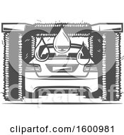 Clipart Of A Rear View Of A Vehicle In A Car Wash Royalty Free Vector Illustration