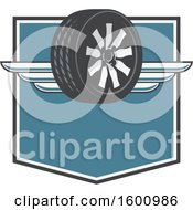 July 16th, 2018: Clipart Of A Tire With Wings On A Shield Royalty Free Vector Illustration by Vector Tradition SM