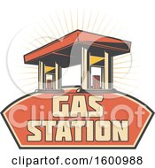 July 16th, 2018: Clipart Of A Gas Station Over A Frame Royalty Free Vector Illustration by Vector Tradition SM