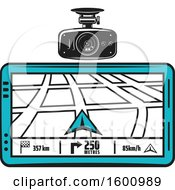 Poster, Art Print Of Car Cam And Gps Map