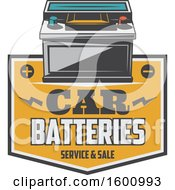 Clipart Of A Car Battery Over A Frame Royalty Free Vector Illustration
