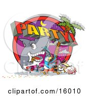 Shark Parrot Toucan And Crab Partying On A Tropical Beach Clipart Illustration