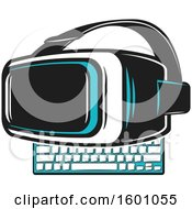 Clipart Of A Computer Keyboard And Virtual Reality Glasses Royalty Free Vector Illustration