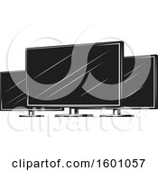 Clipart Of Black And White Computer Monitors Royalty Free Vector Illustration