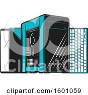 Clipart Of A Computer Tower Keyboard And Tablets Or Smart Phones Royalty Free Vector Illustration by Vector Tradition SM
