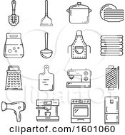 Clipart Of Gray Household Icons Royalty Free Vector Illustration