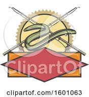 Clipart Of An Eel And Crossed Fishing Reels Over A Frame Royalty Free Vector Illustration