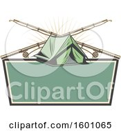 Clipart Of A Tent And Crossed Fishing Poles Over A Frame Royalty Free Vector Illustration