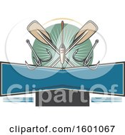 Clipart Of Fishing Gear And Paddles Over A Frame Royalty Free Vector Illustration
