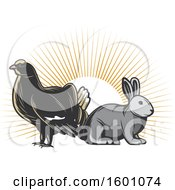 Clipart Of A Grouse And Rabbit Over Sun Rays Royalty Free Vector Illustration