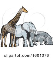 Clipart Of A Giraffe Elephant And Hippo Royalty Free Vector Illustration by Vector Tradition SM