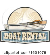 Clipart Of A Boat And Sunshine Over Text Royalty Free Vector Illustration