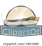 Clipart Of A Boat And Sunshine Royalty Free Vector Illustration