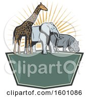 Poster, Art Print Of Giraffe Elephant And Hippo With Sun Rays Over A Frame