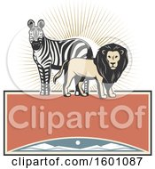 Clipart Of A Zebra And Male Lion Over A Frame Royalty Free Vector Illustration