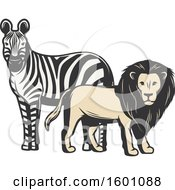 Clipart Of A Zebra And Male Lion Royalty Free Vector Illustration