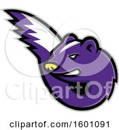 Clipart Of A Tough Purple Skunk Mascot Royalty Free Vector Illustration