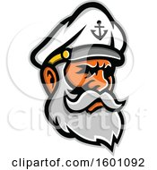 Clipart Of A Bearded Senior Sea Captain Royalty Free Vector Illustration