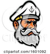 Clipart Of A Bearded Senior Sea Captain Royalty Free Vector Illustration