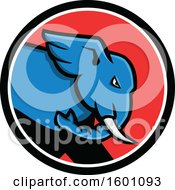 Blue Angry Elephant In A Black White And Red Circle