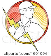 Clipart Of A Male Electrician Holding A Bolt In A Circle Royalty Free Vector Illustration
