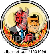 Devil Politician Or Business Man Removing A Mask In A Flaming Circle