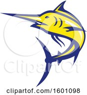 Clipart Of A Yellow And Blue Marlin Fish Mascot Royalty Free Vector Illustration by patrimonio