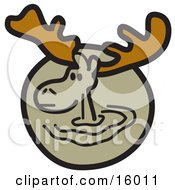 Brown Moose With Big Antlers Clipart Illustration by Andy Nortnik