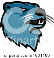 Clipart Of A Tough Blue River Otter Mascot Royalty Free Vector Illustration