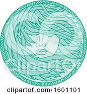 Clipart Of A Polynesian Woman With Long Flowing Sea Kelp Hair Royalty Free Vector Illustration