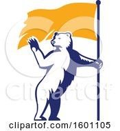 Retro Standing Polar Bear Waving And Holding A Flag