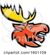 Clipart Of A Tough Bull Moose Mascot Royalty Free Vector Illustration by patrimonio