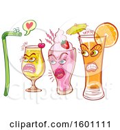Clipart Of A Flirty Straw Being Rejected By Three Female Drinks Royalty Free Vector Illustration
