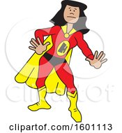 Clipart Of A Cartoon Black Female Super Hero With A Letter H On Her Suit Royalty Free Vector Illustration