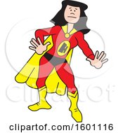 Clipart Of A Cartoon White Female Super Hero With A Letter H On Her Suit Royalty Free Vector Illustration