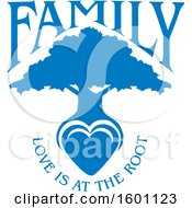 Clipart Of A Blue Silhouetted Tree With A Heart And Love Is At The Root Text Royalty Free Vector Illustration
