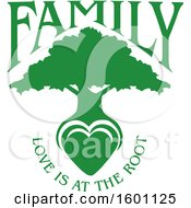 Clipart Of A Green Silhouetted Tree With A Heart And Love Is At The Root Text Royalty Free Vector Illustration