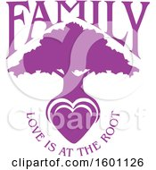 Clipart Of A Purple Silhouetted Tree With A Heart And Love Is At The Root Text Royalty Free Vector Illustration