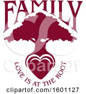 Clipart Of A Burgandy Silhouetted Tree With A Heart And Love Is At The Root Text Royalty Free Vector Illustration