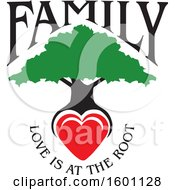Clipart Of A Family Tree With A Heart And Love Is At The Root Text Royalty Free Vector Illustration by Johnny Sajem