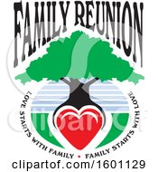 Clipart Of A Family Reunion Tree With A Heart As The Roots And Text Royalty Free Vector Illustration by Johnny Sajem