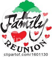 Clipart Of A Family Reunion Design With A Tree And Hearts Royalty Free Vector Illustration by Johnny Sajem