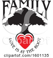 Clipart Of A Black Silhouetted Family Tree With A Heart And Love Is At The Root Text Royalty Free Vector Illustration by Johnny Sajem