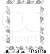 Clipart Of A Border Of Cartoon Grayscale Snails Royalty Free Vector Illustration