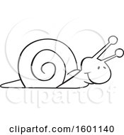 Clipart Of A Cartoon Lineart Snail Royalty Free Vector Illustration