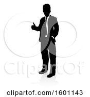 Silhouetted Business Man Giving A Thumb Up With A Reflection Or Shadow On A White Background