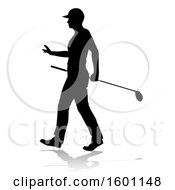 Silhouetted Female Golfer With A Reflection Or Shadow On A White Background