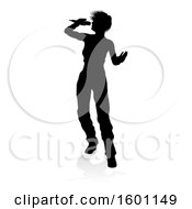 Silhouetted Female Singer With A Reflection Or Shadow On A White Background