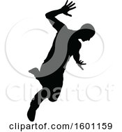 Clipart Of A Silhouetted Male Dancer Royalty Free Vector Illustration by AtStockIllustration