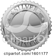 Clipart Of A Silver Medal Royalty Free Vector Illustration